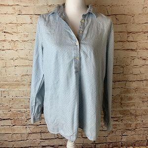LOFT Chambray 1/4 Button Up Shirt Patterned